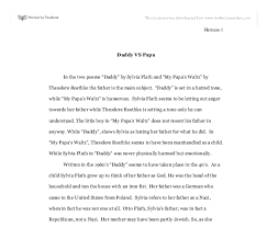 daddy vs papa in the two poems daddy by sylvia plath and my  document image preview