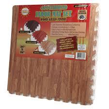fitness utility foam puzzle mat floor cushion with oak wood grain finish