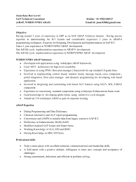 Cute Sap Abap Resume 3 Years Experience Photos Entry Level