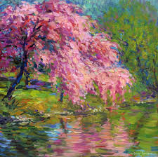 saatchi art artist svetlana novikova printmaking blossoming cherry tree landscape painting by svetlana