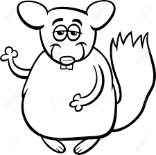 Small Picture Black And White Cartoon Illustration Of Funny Chinchilla Character