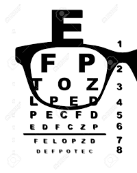 A Typical Opticians Eye Test Chart Over A White Background With