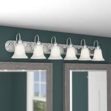 Vanity lighting bathroom Square Tiverton Strip 6light Vanity Light Wayfair Or More Light Bathroom Vanity Lighting Youll Love Wayfair