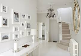 interior luxury and modern down stair hallway design with all white interior color decorating ideas