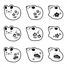 ネズミの置物アイコンイラスト 子年 年賀状素材 イラスト素材 5995216