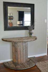 wooden spool console table jpg