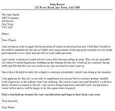 Restaurant Cover Letter Sample Waitress Job Resumes Brilliant Ideas