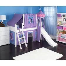 Princess Castle Bedroom Furniture Wow Girl I Deluxe Panel Low Loft Tent Bed With Slide Diy Kids