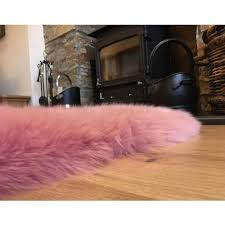 sheepskin rug in dusty pink super