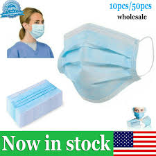 <b>50 Pcs 3 Layer</b> Disposable Protective <b>Face</b> Mouth <b>Masks</b> Anti Dust ...