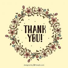 Word Thank You Vintage Floral Wreath Background Drawn By Hand With The Thank You