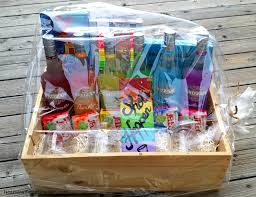 jello shots fundraiser auction basket a rainbow of liquor bottles with matching jello flavors