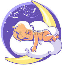 cute pillow clipart. cute little baby sleeping on moon listen lullaby. colorful vector illustration. smiling cartoon kid pillow clipart