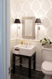 Lovely Pretty Powder Room With Katie Ridder Leaf Wallpaper