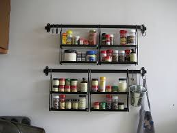 Impressive Hanging Wall Spice Rack For Kitchen Wall Decoration Design Ideas  : Beautiful Image Of Black