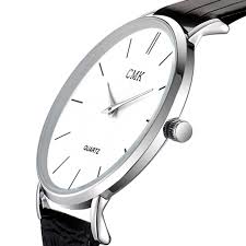 fashion brand men watches super thin simple face design qaurtz watch with black leather band
