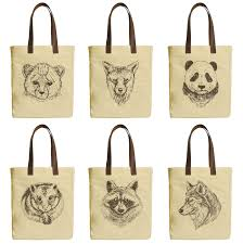 image is loading drawing animal beige printed canvas tote bags leather