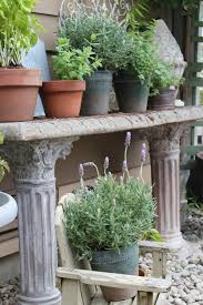 herb garden in pots stone potting bench the inspired room