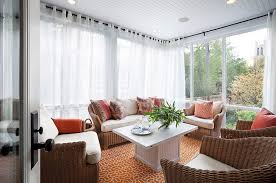 designs ideas sunroom with wicker sofa feat fl cushions and white coffee table plus white