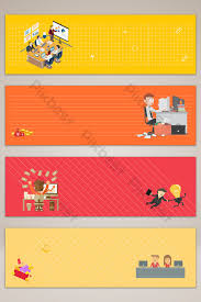 Office Banner Template Flat Hand Drawn Cartoon Office Banner Poster Background
