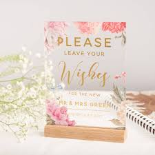 Sign Book For Wedding Personalised Floral And Gold Guest Book Wedding Sign