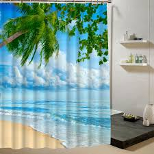 2018 whole beach shower curtain palm tree summer pattern fabric design 3d bathroom curtain waterproof blue green from lantor 26 52 dhgate com