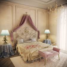 bedroom decor with white beige romantic design with classic wooden canopy bed and classic worught iron