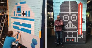 workers use 3 579 post it notes to turn boring office walls into star wars murals bored panda