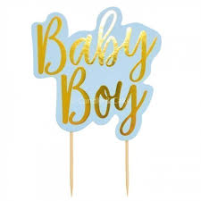 Baby Boy Blue Cake Topper Candle Cake