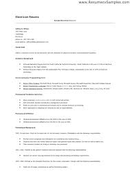 Sample Resume Format For Electrical Engineer Best Of Fabulous Electrical Technician Resume Samples For Your Sample