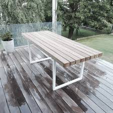 outdoor metal table. Our Idea Was To Build A Table With The Surface Made Of Teak And Legs From Metal Tubing. Are Out Square Shape 40/40 Mm Tubing, Outdoor