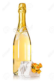 Champagne Bottle Decoration Bottle Of Champagne With Wedding Flower Decoration And Present