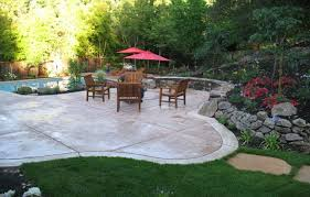 backyard stamped concrete patterns design ideas with ashlar stamped concrete patterns around pool and wood patio