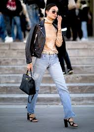 black leather jacket and boyfriend jeans outfit