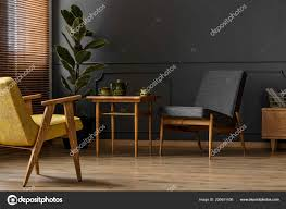 Simple Dark Retro Living Room Interior Concept Two Chairs Stool
