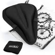 exercise bike comfortable gel seat cover durable soft black saddle cushion pad