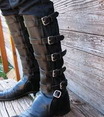 steampunk black leather shin guards shinguards or by vampieoodles 75 00