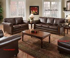 Living Room Loveseats Amazoncom San Diego Coffee Leather Sofa Loveseat Living Room