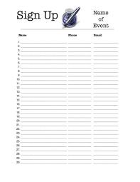 Printable Sign Up Sheet Templates Shop Fresh