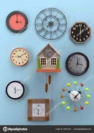 3d rendering of various types and shapes of wall clocks hung on light blue wall showing diffe time photo by pryzmat