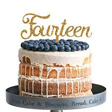 Amazoncom Fourteen Happy Birthday Cake Topper Gold Glitter Acrylic
