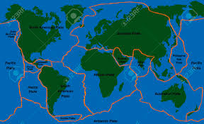 plate tectonics  world map with fault lines of major an minor