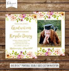 Graduation Invite Girl Graduation Party Invitation Floral Invitation