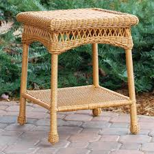 wicker patio side table outdoor spring haven brown all weather