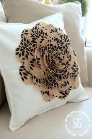 no sew burlap flower pillow dimensional pillow stonegableblog com