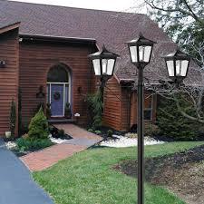 72 Solar Lamp Post Lights Outdoor Triple Head Street Vintage Solar Lamp Outdoor Solar Post Light For Garden Lawn Planter Not Included