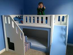 Painted Kids Bunk Bed with Slide and Stairs Fun Kids Bunk Bed with