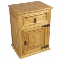 Attractive Rustic Pine Nightstand With 1 Drawer U0026 1 Door