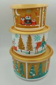 Tupperware #263 coffee & tea canisters containers brown w. New 3 Tupperware Canister Jars Owl Coffee Containers Set Holiday Christmas Gold Ebay