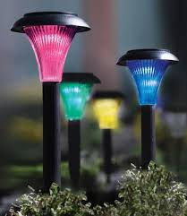 color changing solar garden lights. Solar Color Changing Garden Pathway Lights - Set Of 4 From Collections Etc. D